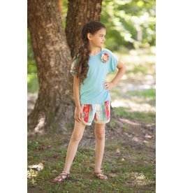 Mallory May Blue Button Drape Top Tween