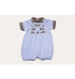 Baby's Trousseau Blue And Grey Romper