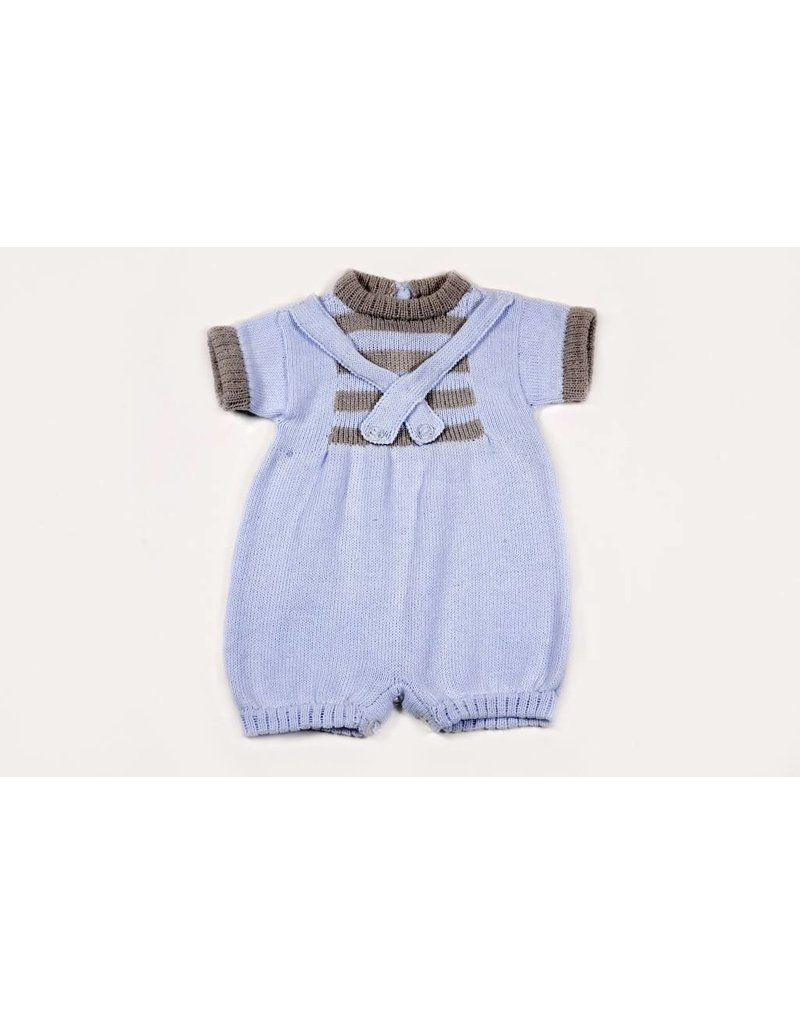 cab37c292 Baby's Trousseau Blue And Grey Romper - Peek-a-Bootique