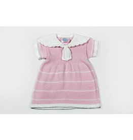 Baby's Trousseau Pink Sailor Striped Crochet Dress