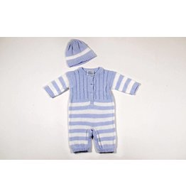 Baby's Trousseau Blue Striped Crochet Romper