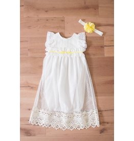 Peaches 'n Cream Daisy Girl White Linen Gown With Lace Overlay