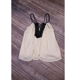 Paper Crane Ivory and Black Lace Up Double Strap Top
