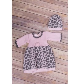 Baby's Trousseau Pink And Grey Dot Crochet Dress