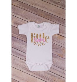 Jujubee Bowtique Pink and Gold Little Sister Onesie