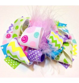 Spring Chevron and Swirl Dots 4in Boutique Bow