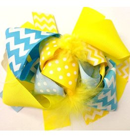 Blue Yellow and Baby Blue Chevron 4in Boutique Bow