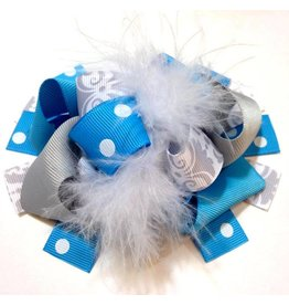 Blue and Grey Damask 4 in Boutique Bow