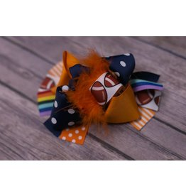 Rainbow And Orange Football 4.5 in. Boutique Bow