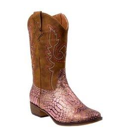 Nanette Lepore Pink Glitter Snakeskin Cowgirl Boot