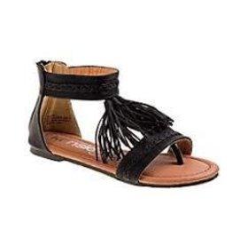 KensieGirl Black Tassel Sandal