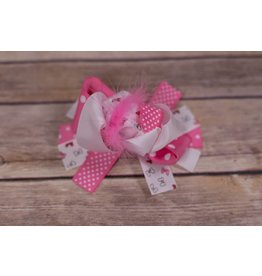 Pink/White Polka Dot And Bow 4 in. Boutique Bow