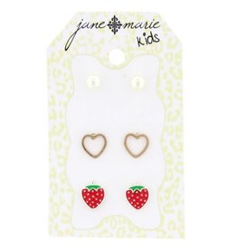 Jane Marie 3 Sets of Stud Earrings Pearls, Hearts, and Strawberries