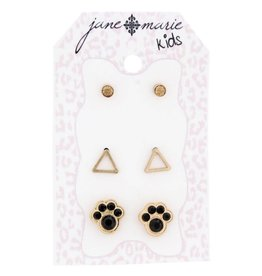 Jane Marie 3 Sets of Stud Earrings Ember, Triangles, and Paws