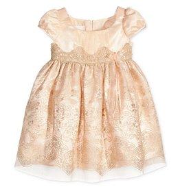 Bonnie Jean Peach Dress with Gold Detailing