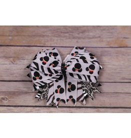 Zebra Stripe And Mickey Mouse 4in. Boutique Bow
