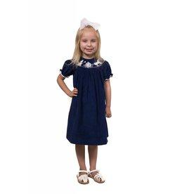 Banana Split Cinderella Blue Corduroy Smocked Dress