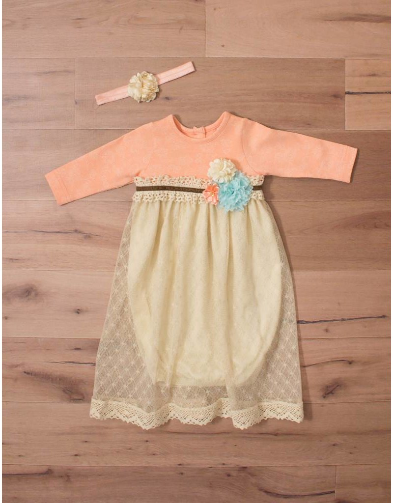 Peaches N Cream Peach Overlay Gown With Headband 0 3m Peek A Bootique