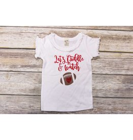 Jujubee Bowtique Lets Cuddle and Watch Football White Ruffle Tee
