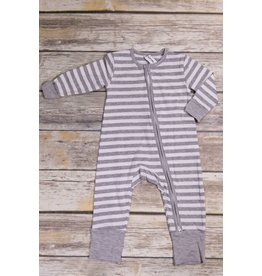 Earth Baby Outfitters 2 Way Zippy Grey Stripe Bamboo Sleeper