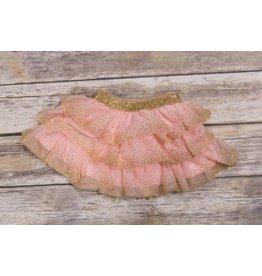 Calla Lily Pink And Gold Layered Mesh Skirt