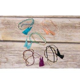 Bela & Nuni White Bead Double Tassel Bracelet