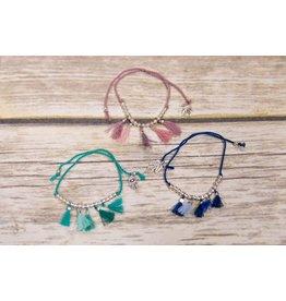 Bela & Nuni Silver Charm Tassel Bracelet