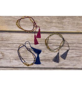 Bela & Nuni Double Tassel Bracelet Gold Bead