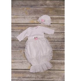 CachCach White Lace Gown with Pink Rose 0-3M