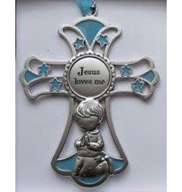 Ganz Jesus Loves Boy Crib Cross