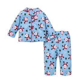 Little Me Blue Santa PJ Set