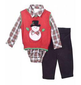 Matt's Scooter Plaid Onesie with Snowman Sweater Vest and Black Pant Set