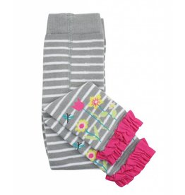 RuffleButts Gray Stripe Floral Tights