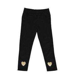 Blu by Blu Black Leggings With Gold Heart