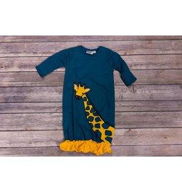 koko-nut Milk Aqua and Mustard Giraffe Ruffle Gown NB