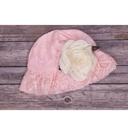 CachCach Pink Mesh Cap with Ivory Rose