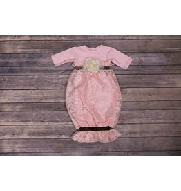 CachCach Pink Eyelet Lace with Ivory Rose Gown 0-3M