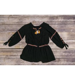 Truly Me Black Embroidered Romper