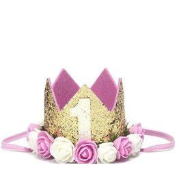 Sweet Wink Floral 1st Birthday Crown