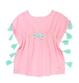 RuffleButts Pink Tassel Kaftan Cover-Up