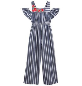 Bonnie Jean Embroidered White Striped Jump Suit