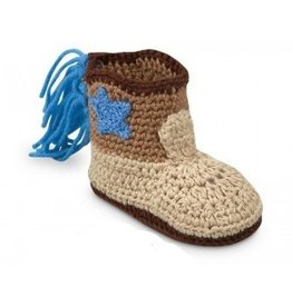 Jefferies Socks Khaki Crocheted Boot with Star