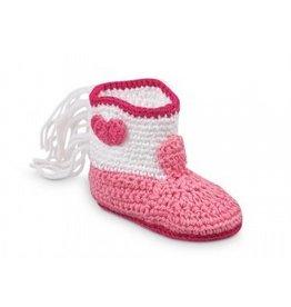 Jefferies Socks Pink Crocheted Boots