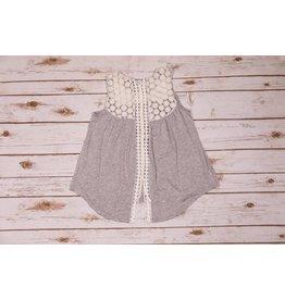 Paper Flower Grey Crochet Tunic
