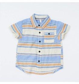 Bit'z Kids Ivory/Blue/Orange Striped Button Up Shirt