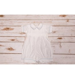 Sen Baby White Bubble Romper with Blue Pipe