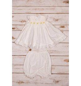 Sen Baby White Dress with Yellow Flowers Bloomer Set