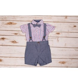 Matt's Scooter Pink and Blue Plaid Chambray Set