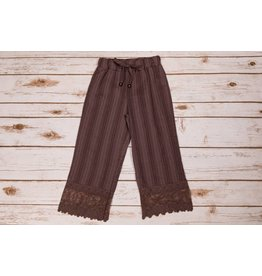 Mae Li Rose Brown Lace Trimmed Pants