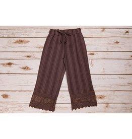 Mae Li Rose Brown Lace Trimmed Pants